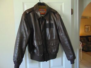 Vintage Cooper A-2 Brown US Air Force Flight  Bomber Goatskin Leather Jacket 42R