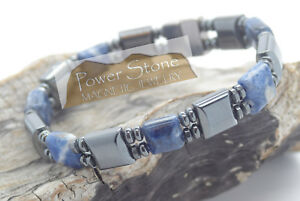 Magnetic Hematite Bracelet Blue Sodalite ~ Double Stranded~Strong Magnetic Clasp