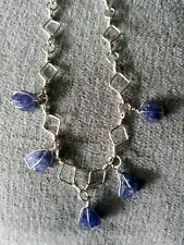 Handmade Sterling Silver Raw Tanzanite Drop Necklace