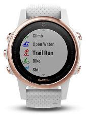 Garmin Fenix 5s Rose Gold Sapphire GPS Watch w/ White Band 010-01685-16 Goldtone