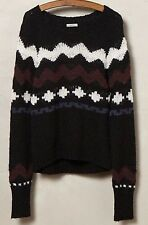 Anthropologie Suss Waved Women's Pullover Nordic Sweater Black Alpaca Small