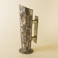 Vtg Alpaca Silver Mid-Century Abalone Shell Inlay Vase Taxco Mexico Nickel