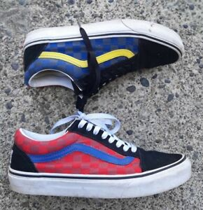 Vans Mens 7 Womens 8.5 Red Yellow Blue Suede Leather Lace Up Low Sneakers