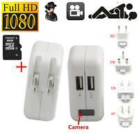 8GB 1080P Spy Hidden Camera AC power Adapter Motion Detection Plug Record Cam