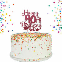 Happy Birthday Cake Topper any name any age  1 to 100 double sided shimmer card
