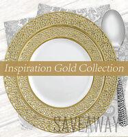Elegant Wedding Party Disposable Plastic Plates Inspiration White - Gold 10Pc