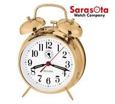 Bulova Bellman B8124 Polished Brass Finish Metal Case White Arabic Alarm Clock