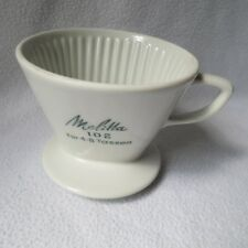 alter Melitta Porzellan Kaffeefilter weiß 102 4 Loch türkise Schrift 4-8 Tassen