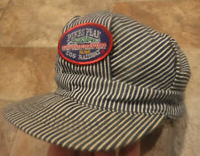 Vtg Pikes Peaks Railroad Engineer Hickory Stripe Adult Snapback Cap Hat USA Made
