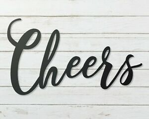 cheers metal sign,  Metal Wall Hanging cheers word sign, Calligraphy Sign