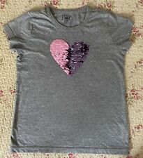 LOOK by Crewcuts(J.CREW) Girls Gray Flippy Sequin Heart Cotton T-shirt Size M(8)