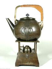 JUGENDSTIL Rechaud ° Kessel Stövchen Brenner Set ° Art Nouveau Wasserkocher