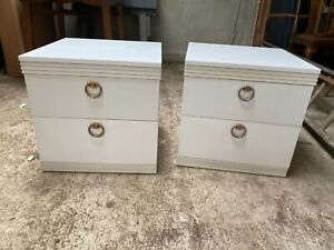 Retro White Bedside Cabinets Drawers Unit Tables x 2