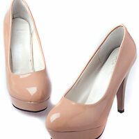 Womens Patent Leather Round Toe Stilettos High Heel Platform Pump Working Shoes