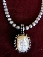 STEPHEN DWECK MOP 18 K Gold & S/S PENDANT on PEARL S/S Necklace SIGNED!
