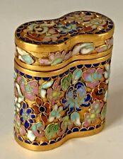 Vintage Cloisonne Cloisonne' Enamel Vanity Box Binocular Shaped w/ Lid 20-1303