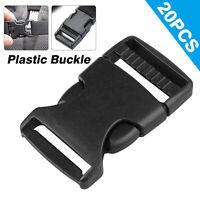20pcs 1 Inch Plastic Webbing Side Release Nylon Strap Buckles Clasp Craft Black