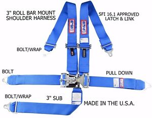 RJS RACING SFI 16.1 5PT LATCH & LINK HARNESS BELT ROLL MOUNT BAR BLUE 1128603
