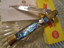 "Kissing Crane Genuine Abalone Stiletto Pocket Knife Dagger 5165 9"" Open 420 New"
