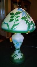 Mint Vintage Satin bohemian Mushroom Dragonfly Cameo Shade lamp 3-light