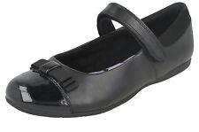 Clarks Danceshout Enfant Cuir / Verni Noeud Bordure Noir Chaussures F Fit ( Sb )