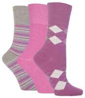 3 Pairs Ladies Gentle Grip Non Elastic Cotton Socks Selection Mix 15, Size 4-8