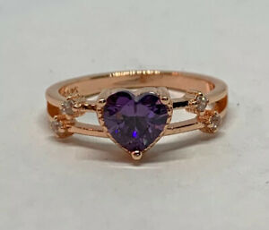 Heart Amethyst Rose Gold Plated Alloy Anniversary Ring Size US 5.5