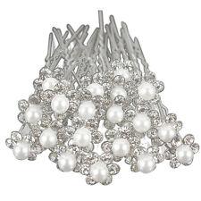 20Pcs Wedding Bridal Pearl Flower Crystal Hair Pins Clips Bridesmaid (Silver) PK