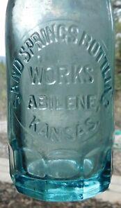 Sand Springs Bottling Works Abilene Kansas vintage embossed soda bottle