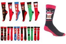 Mens Christmas Socks Reindeer Snowman Chimney Santa Trees 6-11 Gift Xmas