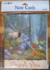 8 Leanin Tree Note Cards Thank You - Bull Elk - Cabin Lodge Woods Made in Usa