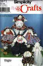 "BUNNY DOLLS & WARDROBE PATTERNs 14"" Bunnies JUMPSUIT Dress HAT Pinafore 0317"
