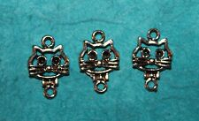 Jewelry Finding Connector Charm Cat Charms Feline Bead Connector Charm Kitty Cat