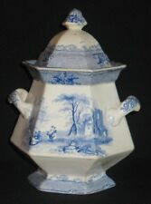 ANTIQUE ENGLISH CHINA HEXAGONAL SUGAR BOWL HANDLES LID SCENIC TESSINO PATTERN