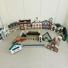 The Cats Meow Village Lot of 16 Wood Shelf Sitters Historical Buildings + Amish