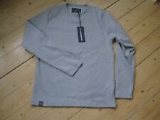 Mens Spy Denim Long Sleeve Casual Top Grey Size 3 Large Tenby Rib SD5234 New