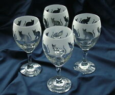 More details for cat present, classic wine glasses. sitting cat set of 4 boxed