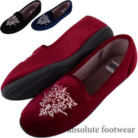 Ladies / Womens Velour Style Slip On Slippers / Indoor Shoes Attractive Design