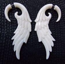 Pair of Angel Wing Split Gauge Earrings Tribal Tapers Carved Cow Bone Fake Plugs