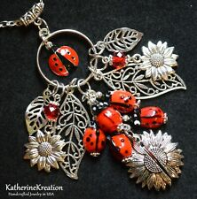 "LADYBUG SUNFLOWERS Daisy CHARM NECKLACE Bead 30"" Silver Plated Chain 4"" Pendant"