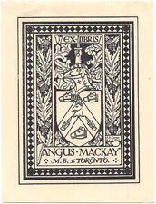 A. S. CARTER: Exlibris für Angus Mackay, Toronto, 1935