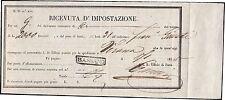 LOMBARDO VENETO 1855 - RICEVUTA D'IMPOSTAZIONE GRUPPI BASSANO punti R4 (75.000)