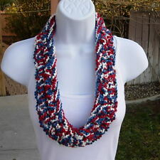Red White Blue Scarf SUMMER COWL Patriotic Crochet Knit Necklace Small Skinny