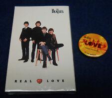 Real Love The Beatles 1996 APPLE sealed cassette Cirque Du Soleil promo button
