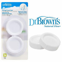 Dr Brown's Storage Wide-Neck Travel Caps - 2 Pack - seals DR Browns Natural Flow