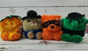 Puffkins Lot of 4 Halloween Plush Stuffed Toys Swibco NWT Pumpkin Scarecrow