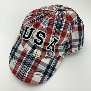 USA The Place Kids Ball Cap Hat Fitted 12-24 M/M Baseball Plaid