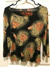 ae9f987939a BRITTANY BLACK Orange and Brown Floral Knit Scoop Neck Top Sz see  measurements