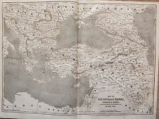 1854 MAP THE OTTOMAN EMPIRE KINGDOM OF GREECE & RUSSIAN PROVINCES ON  BLACK SEA