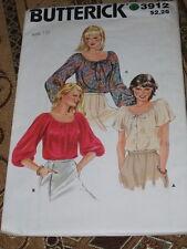 BUTTERICK #3912 - LADIES RETRO SCOOP NECKLINE PEASANT STYLE BLOUSE PATTERN 10 FF